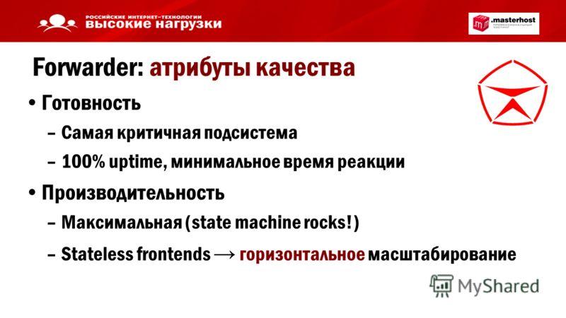 Forwarder: атрибуты качества Готовность –Самая критичная подсистема –100% uptime, минимальное время реакции Производительность –Максимальная (state machine rocks!) –Stateless frontends горизонтальное масштабирование