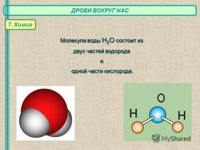 ДРОБИ ВОКРУГ НАС 7. Химия Молекула воды Н 2 О состоит из двух частей водорода и одной части кислорода. одной части кислорода.