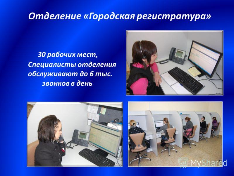 Отделение «Городская регистратура» 30 рабочих мест, Специалисты отделения обслуживают до 6 тыс. звонков в день