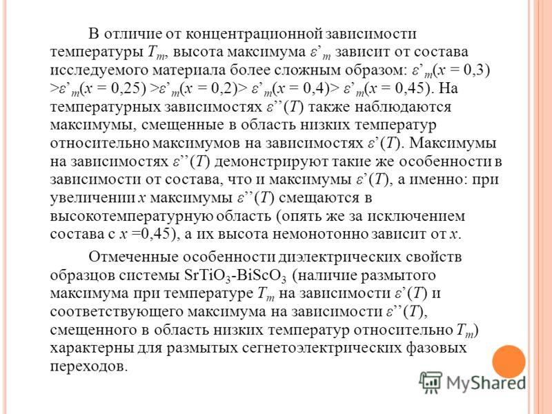 В отличие от концентрационной зависимости температуры T m, высота максимума ε m зависит от состава исследуемого материала более сложным образом: ε m (x = 0,3) >ε m (x = 0,25) >ε m (x = 0,2)> ε m (x = 0,4)> ε m (x = 0,45). На температурных зависимостя