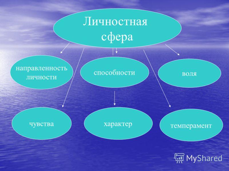 Личностная сфера направленность личности способности воля чувствахарактер темперамент