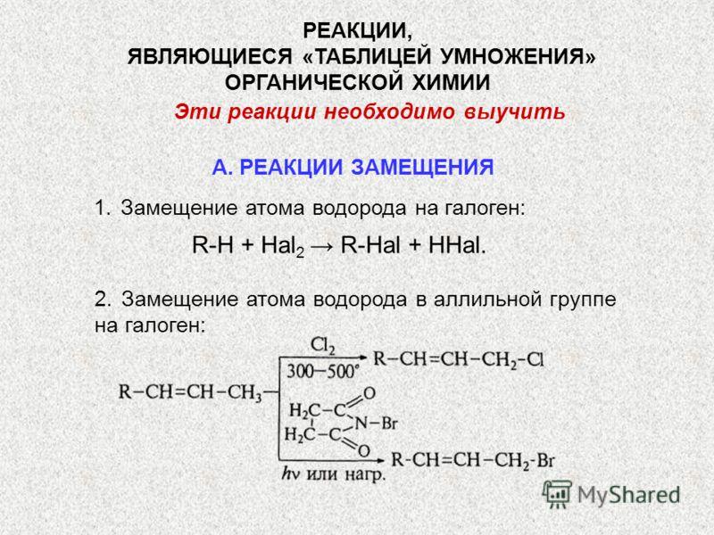 РЕАКЦИИ, ЯВЛЯЮЩИЕСЯ «ТАБЛИЦЕЙ УМНОЖЕНИЯ» ОРГАНИЧЕСКОЙ ХИМИИ Эти реакции необходимо выучить 1.Замещение атома водорода на галоген: R-H + Hal 2 R-Hal + HHal. 2.Замещение атома водорода в аллильной группе на галоген: А. РЕАКЦИИ ЗАМЕЩЕНИЯ