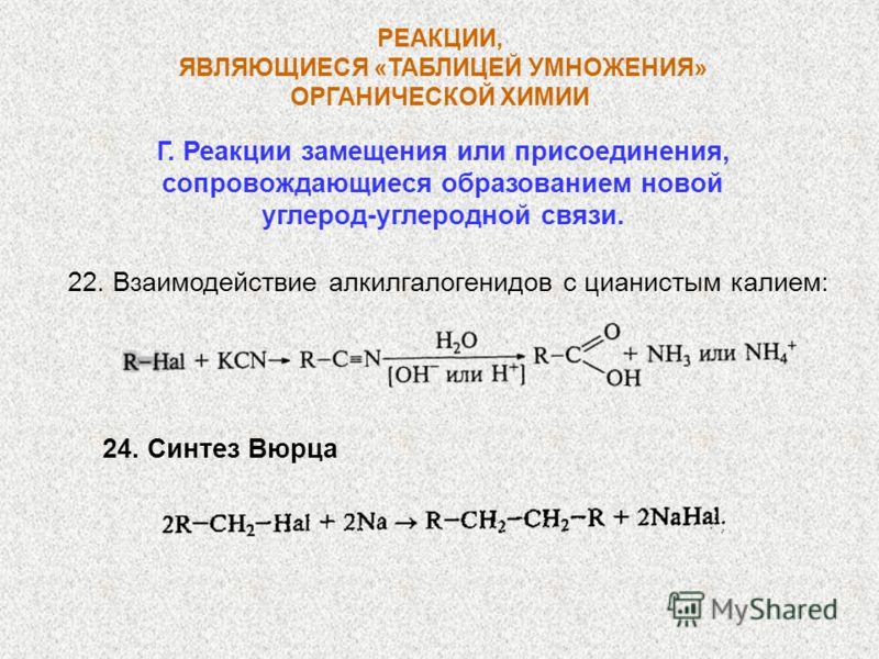 РЕАКЦИИ, ЯВЛЯЮЩИЕСЯ «ТАБЛИЦЕЙ УМНОЖЕНИЯ» ОРГАНИЧЕСКОЙ ХИМИИ Г. Реакции замещения или присоединения, сопровождающиеся образованием новой углерод-углеродной связи. 22. Взаимодействие алкилгалогенидов с цианистым калием: 24. Синтез Вюрца