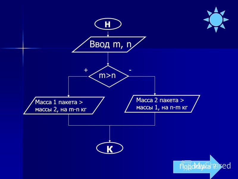 Н Ввод m, n m>n Масса 1 пакета > массы 2, на m-n кг К Масса 2 пакета > массы 1, на n-m кг +- Подсказка ?