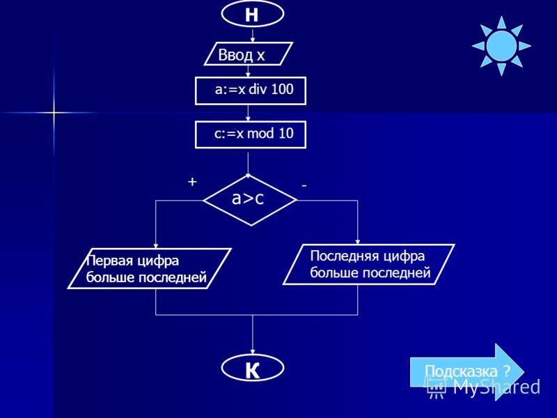 Н Ввод x a>c Первая цифра больше последней К Подсказка ? a:=x div 100 c:=x mod 10 Первая цифра больше последней Последняя цифра больше последней + - Подсказка ?