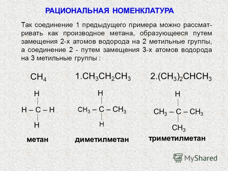 РАЦИОНАЛЬНАЯ НОМЕНКЛАТУРА H – C – H H H CH 3 – C – CH 3 H метандиметилметан CH 3 – C – CH 3 CH 3 H триметилметан H Так соединение 1 предыдущего примера можно рассмат- ривать как производное метана, образующееся путем замещения 2-х атомов водорода на