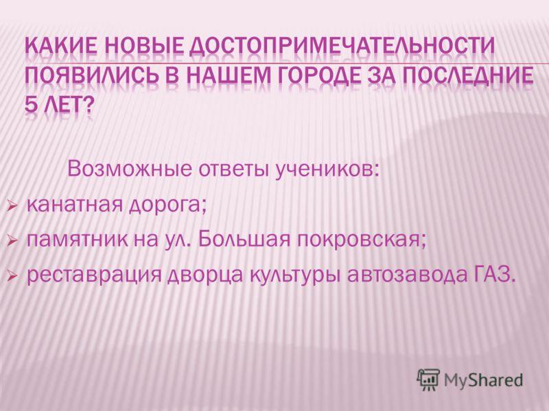 Возможные ответы учеников: канатная дорога; памятник на ул. Большая покровская; реставрация дворца культуры автозавода ГАЗ.