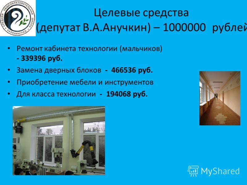 Целевые средства (депутат В.А.Анучкин) – 1000000 рублей Ремонт кабинета технологии (мальчиков) - 339396 руб. Замена дверных блоков - 466536 руб. Приобретение мебели и инструментов Для класса технологии - 194068 руб.