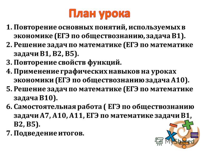 1.Повторение основных понятий, используемых в экономике (ЕГЭ по обществознанию, задача В1). 2.Решение задач по математике (ЕГЭ по математике задачи В1, В2, В5). 3.Повторение свойств функций. 4.Применение графических навыков на уроках экономики (ЕГЭ п