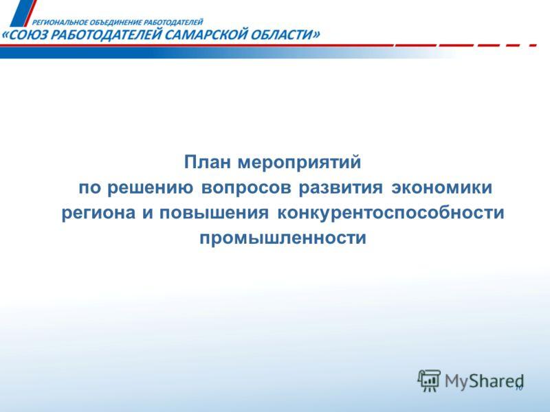План мероприятий по решению вопросов развития экономики региона и повышения конкурентоспособности промышленности 10