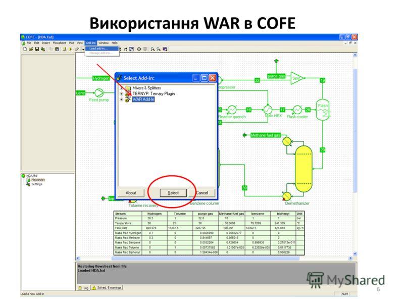 Використання WAR в COFE 6