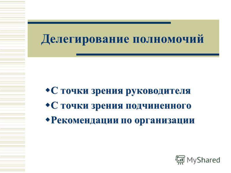 Делегирование полномочий С точки зрения руководителя С точки зрения руководителя С точки зрения подчиненного С точки зрения подчиненного Рекомендации по организации Рекомендации по организации