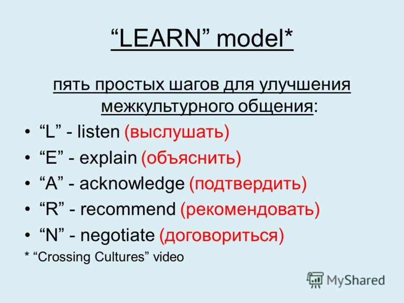 LEARN model* пять простых шагов для улучшения межкультурного общения: L - listen (выслушать) E - explain (объяснить) A - acknowledge (подтвердить) R - recommend (рекомендовать) N - negotiate (договориться) * Crossing Cultures video