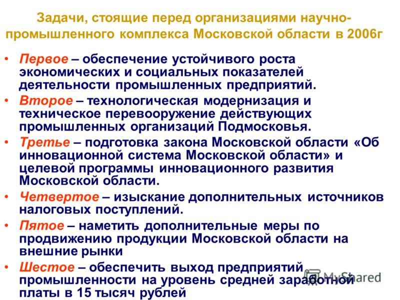 Задачи, стоящие перед организациями научно- промышленного комплекса Московской области в 2006г Первое – обеспечение устойчивого роста экономических и социальных показателей деятельности промышленных предприятий. Второе – технологическая модернизация