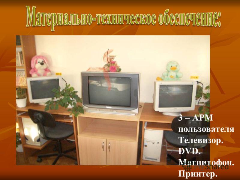 3 – АРМ пользователя Телевизор. DVD. Магнитофон. Принтер.