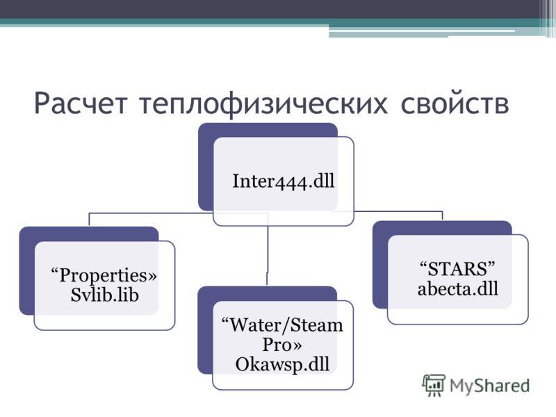 Расчет теплофизических свойств Inter444.dll Properties» Svlib.lib Water/Steam Pro» Okawsp.dll STARS abecta.dll