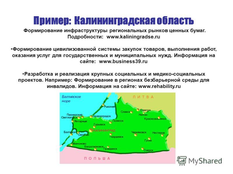 Пример: Калининградская область Формирование инфраструктуры региональных рынков ценных бумаг. Подробности: www.kaliningradse.ru Формирование цивилизованной системы закупок товаров, выполнения работ, оказания услуг для государственных и муниципальных