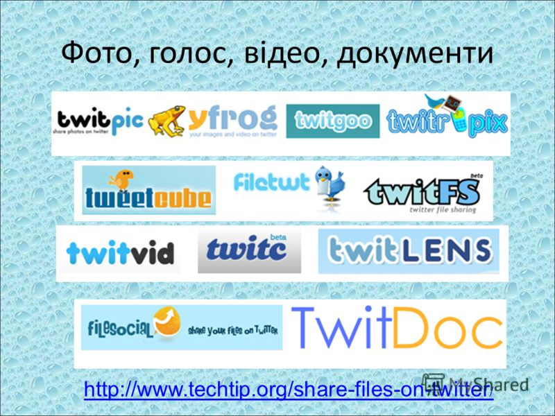 Фото, голос, відео, документи http://www.techtip.org/share-files-on-twitter /