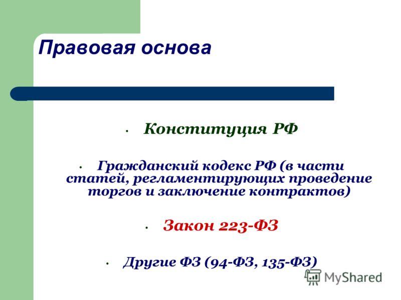 Правовая основа Конституция РФ Гражданский кодекс РФ (в части статей, регламентирующих проведение торгов и заключение контрактов) Закон 223-ФЗ Другие ФЗ (94-ФЗ, 135-ФЗ)