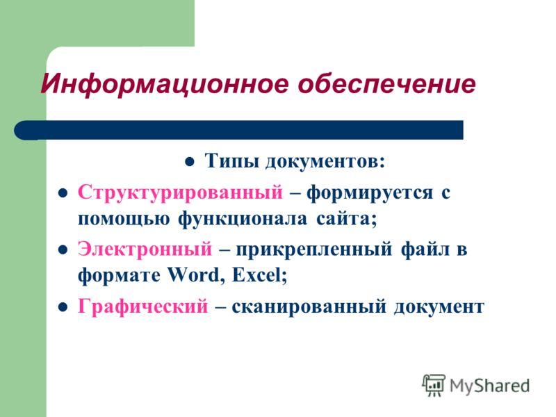 Информационное обеспечение Типы документов: Структурированный – формируется с помощью функционала сайта; Электронный – прикрепленный файл в формате Word, Excel; Графический – сканированный документ