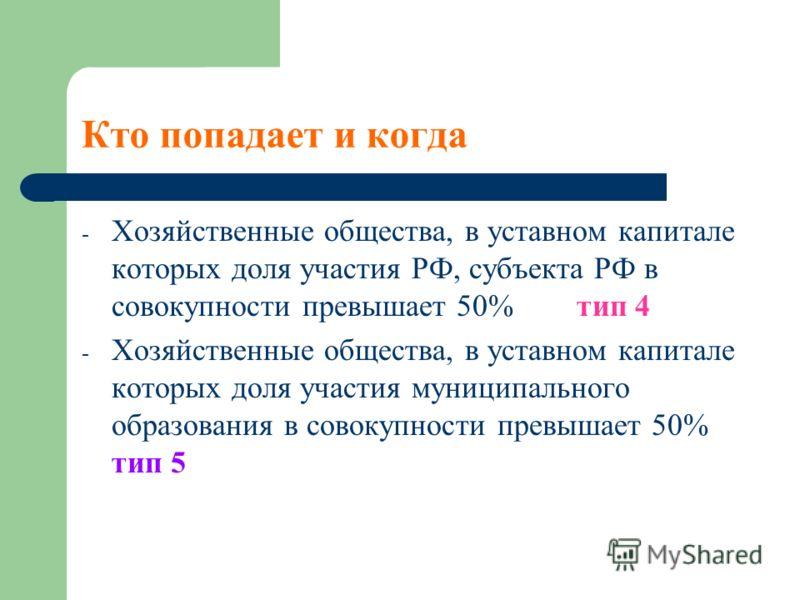 Кто попадает и когда - Хозяйственные общества, в уставном капитале которых доля участия РФ, субъекта РФ в совокупности превышает 50% тип 4 - Хозяйственные общества, в уставном капитале которых доля участия муниципального образования в совокупности пр