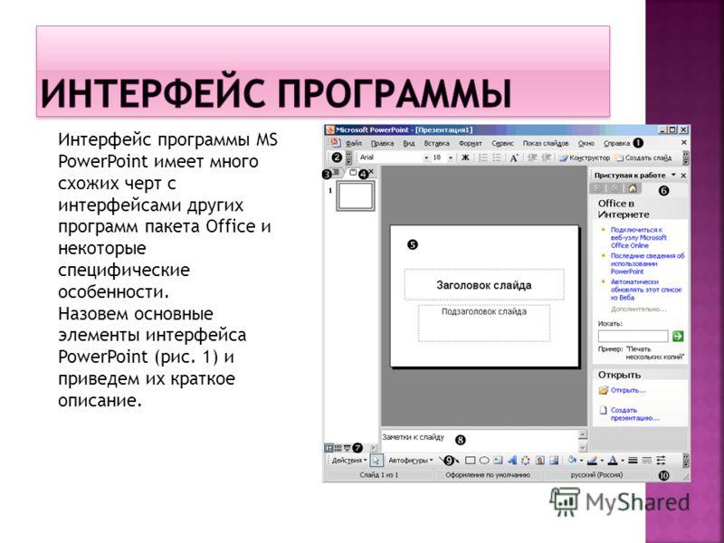 Интерфейс программы MS PowerPoint имеет много схожих черт с интерфейсами других программ пакета Office и некоторые специфические особенности. Назовем основные элементы интерфейса PowerPoint (рис. 1) и приведем их краткое описание.