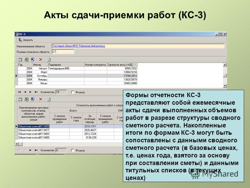 Акты сдачи-приемки работ (КС-3) Формы отчетности КС-3 представляют собой ежемесячные акты сдачи выполненных объемов работ в разрезе структуры сводного сметного расчета. Накопленные итоги по формам КС-3 могут быть сопоставлены с данными сводного сметн