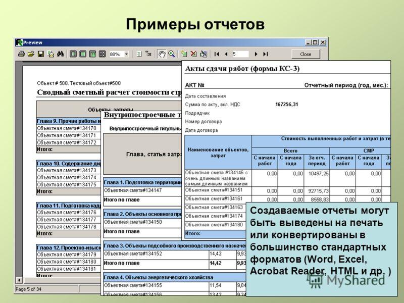 Примеры отчетов Создаваемые отчеты могут быть выведены на печать или конвертированы в большинство стандартных форматов (Word, Excel, Acrobat Reader, HTML и др. )
