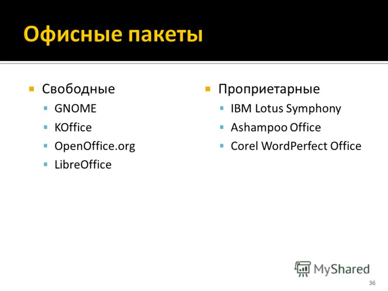 Свободные GNOME KOffice OpenOffice.org LibreOffice Проприетарные IBM Lotus Symphony Ashampoo Office Corel WordPerfect Office 36