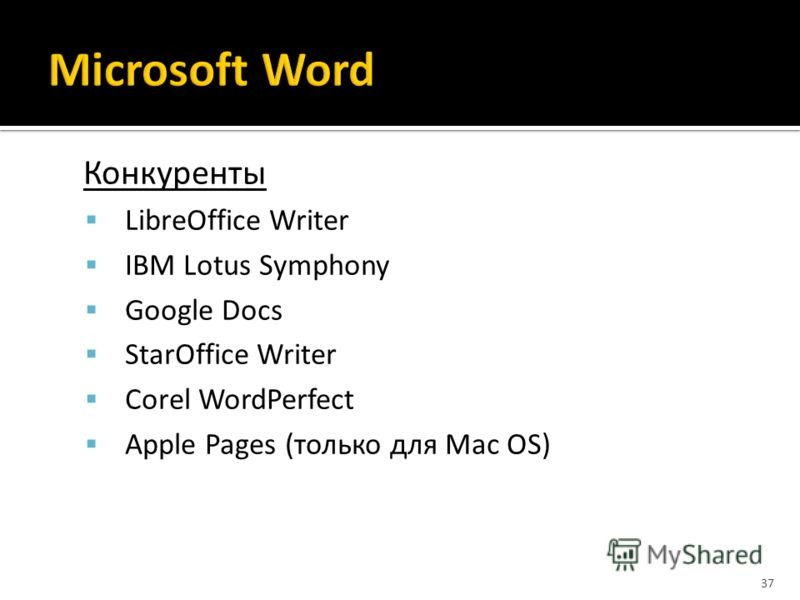 Конкуренты LibreOffice Writer IBM Lotus Symphony Google Docs StarOffice Writer Corel WordPerfect Apple Pages (только для Mac OS) 37