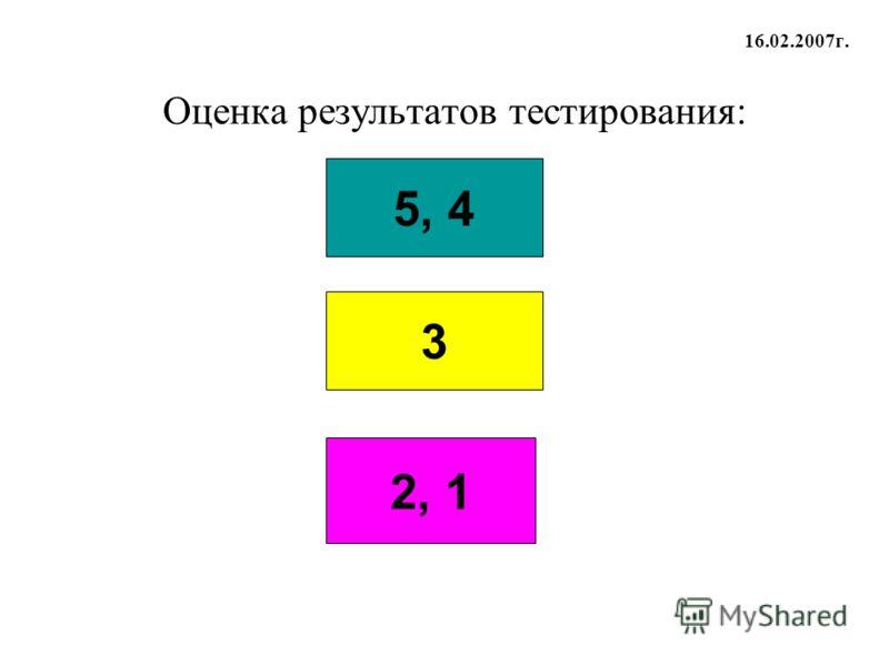 Оценка результатов тестирования: 5, 4 3 2, 1