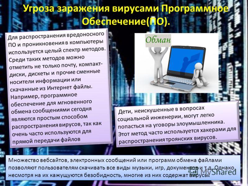 Для распространения вредоносного ПО и проникновения в компьютеры используется целый спектр методов. Среди таких методов можно отметить не только почту, компакт- диски, дискеты и прочие сменные носители информации или скачанные из Интернет файлы. Напр
