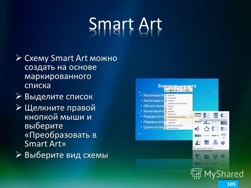 Схему Smart Art можно создать на основе маркированного списка Схему Smart Art можно создать на основе маркированного списка Выделите список Выделите список Щелкните правой кнопкой мыши и выберите «Преобразовать в Smart Art» Щелкните правой кнопкой мы