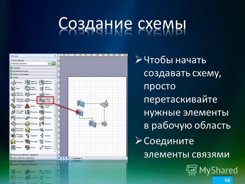 Чтобы начать создавать схему, просто перетаскивайте нужные элементы в рабочую область Чтобы начать создавать схему, просто перетаскивайте нужные элементы в рабочую область Соедините элементы связями Соедините элементы связями 56