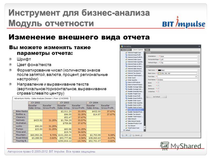 Авторское право © 2005-2012 BIT Impulse. Все права защищены. Инструмент для бизнес-анализа Модуль отчетности Изменение внешнего вида отчета Вы можете изменять такие параметры отчета: Шрифт Цвет фона/текста Форматирование чисел (количество знаков посл