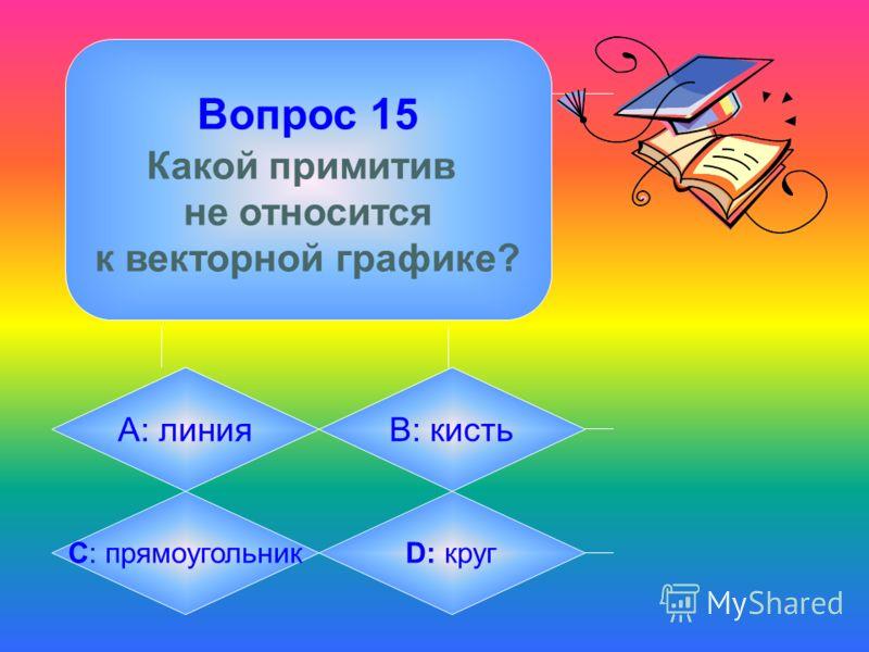 Вопрос 15 Какой примитив не относится к векторной графике? А: линияB: кисть C: прямоугольникD: круг