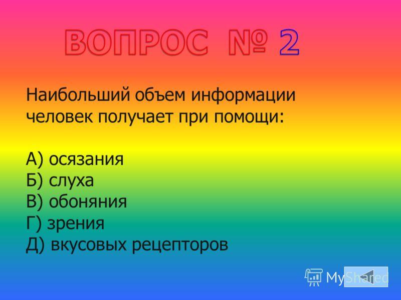 Наибольший объем информации человек получает при помощи: А) осязания Б) слуха В) обоняния Г) зрения Д) вкусовых рецепторов