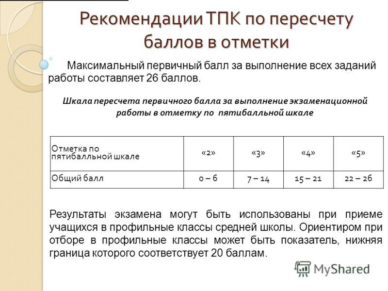 Рекомендации ТПК по пересчету баллов в отметки Максимальный первичный балл за выполнение всех заданий работы составляет 26 баллов. Шкала пересчета первичного балла за выполнение экзаменационной работы в отметку по пятибалльной шкале Отметка по пятиба