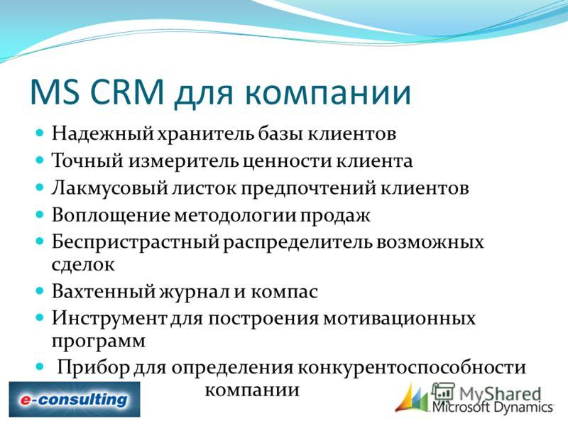 MS CRM для компании Надежный хранитель базы клиентов Точный измеритель ценности клиента Лакмусовый листок предпочтений клиентов Воплощение методологии продаж Беспристрастный распределитель возможных сделок Вахтенный журнал и компас Инструмент для пос