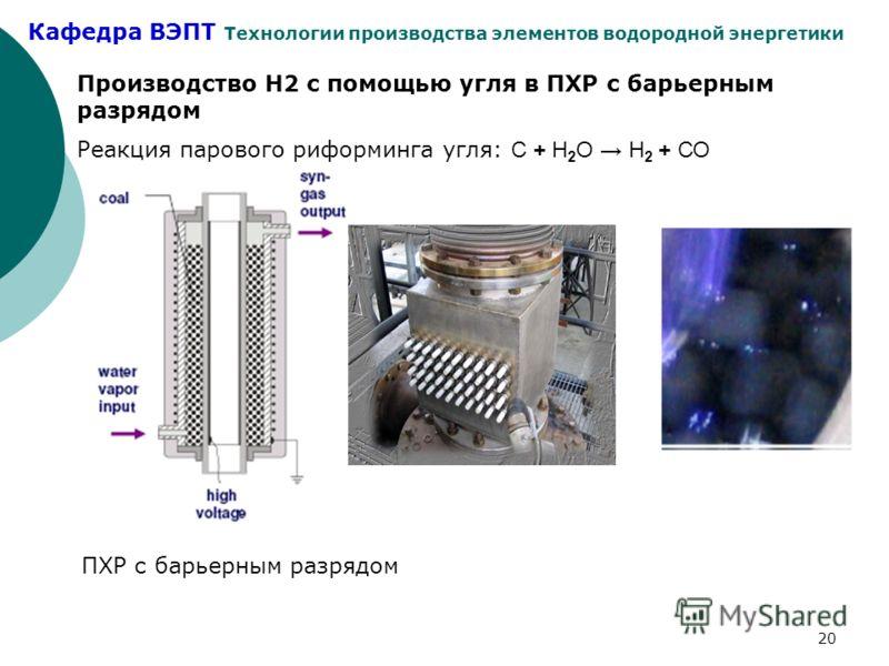 Кафедра ВЭПТ Технологии производства элементов водородной энергетики 20 Производство Н2 с помощью угля в ПХР с барьерным разрядом Реакция парового риформинга угля: С + Н 2 О Н 2 + СО ПХР с барьерным разрядом