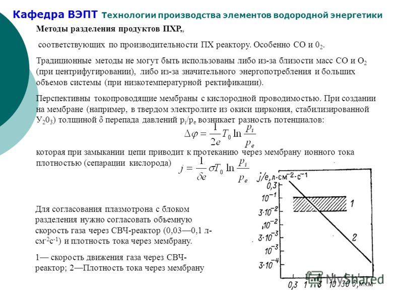 Кафедра ВЭПТ Технологии производства элементов водородной энергетики 23 Методы разделения продуктов ПХР,, соответствующих по производительности ПХ реактору. Особенно СО и 0 2. Традиционные методы не могут быть использованы либо из-за близости масс СО