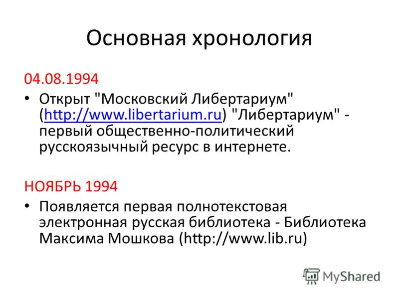 Основная хронология 04.08.1994 Открыт
