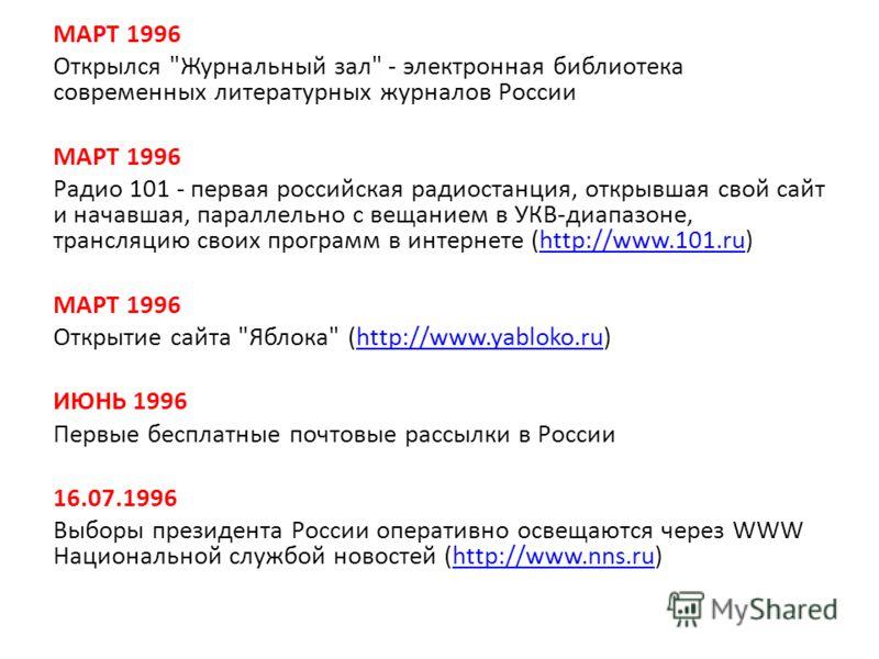 МАРТ 1996 Открылся