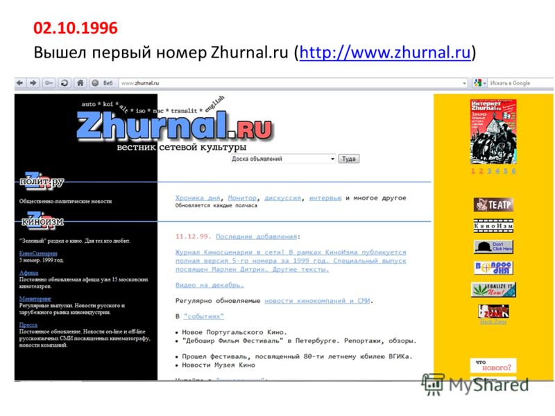 02.10.1996 Вышел первый номер Zhurnal.ru (http://www.zhurnal.ru)http://www.zhurnal.ru