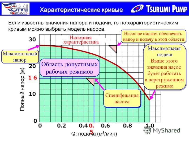 Характеристические кривые Полный напор (м) 10 20 30 0.20.40.60.81.0 0 0 Q: подача (м 3 /мин) Максимальный напор Максимальный напор Напорнаяхарактеристика Максимальная подача Выше этого значения насос будет работать в перегруженном режиме Максимальная