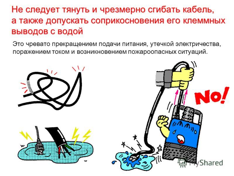 Не следует тянуть и чрезмерно сгибать кабель, а также допускать соприкосновения его клеммных выводов с водой Это чревато прекращением подачи питания, утечкой электричества, поражением током и возникновением пожароопасных ситуаций.