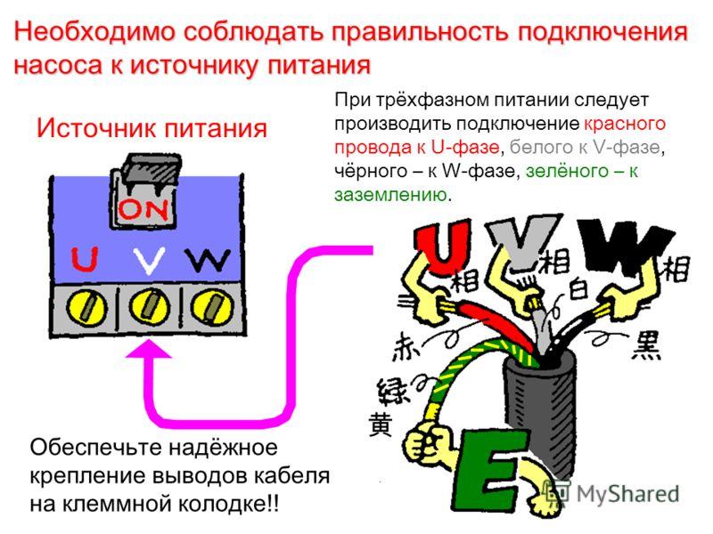 Необходимо соблюдать правильность подключения насоса к источнику питания Обеспечьте надёжное крепление выводов кабеля на клеммной колодке!! Источник питания При трёхфазном питании следует производить подключение красного провода к U-фазе, белого к V-