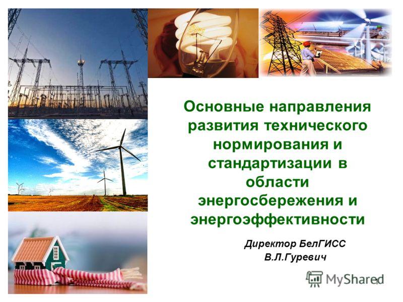1 Основные направления развития технического нормирования и стандартизации в области энергосбережения и энергоэффективности Директор БелГИСС В.Л.Гуревич
