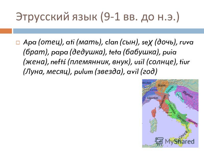 Этрусский язык (9-1 вв. до н. э.) Apa ( отец ), ati ( мать ), clan ( сын ), se χ ( дочь ), ruva ( брат ), papa ( дедушка ), teta ( бабушка ), puia ( жена ), neftś ( племянник, внук ), usil ( солнце ), tiur ( Луна, месяц ), pulum ( звезда ), avil ( го