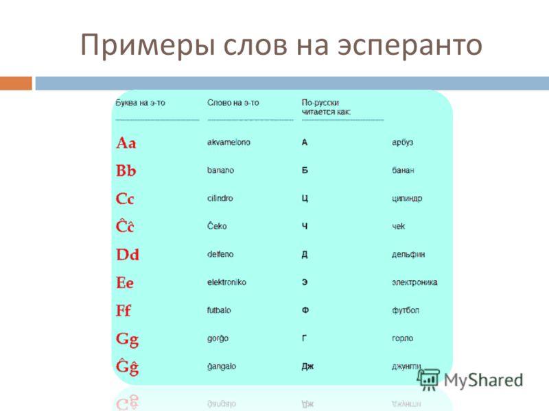 Примеры слов на эсперанто